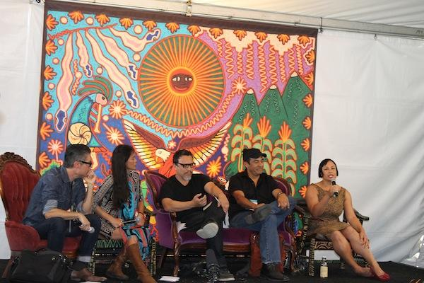 Bioneers Native Artist's Voice panel L-R: Reuben Roqueni, Rulan Tangen, Kade Twist, Will Wilson, Tracy Rector. Photo: Terri Hansen